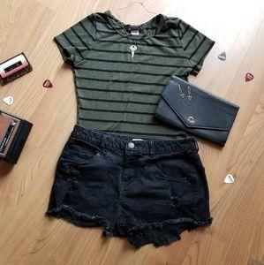 Pants - *Distressed black denim shorts